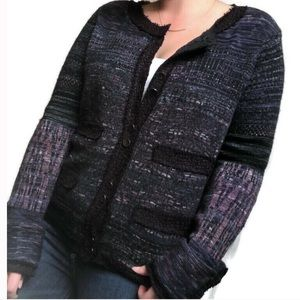 Free People Purple Button Front Cardigan Sweater